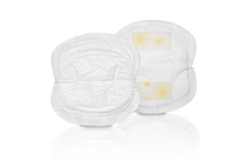 Two Medela disposable nursing pads, seen from the front and back.